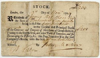 BASIC (grades 11-12): South Sea Bubble: South Sea Company Stock Certificate