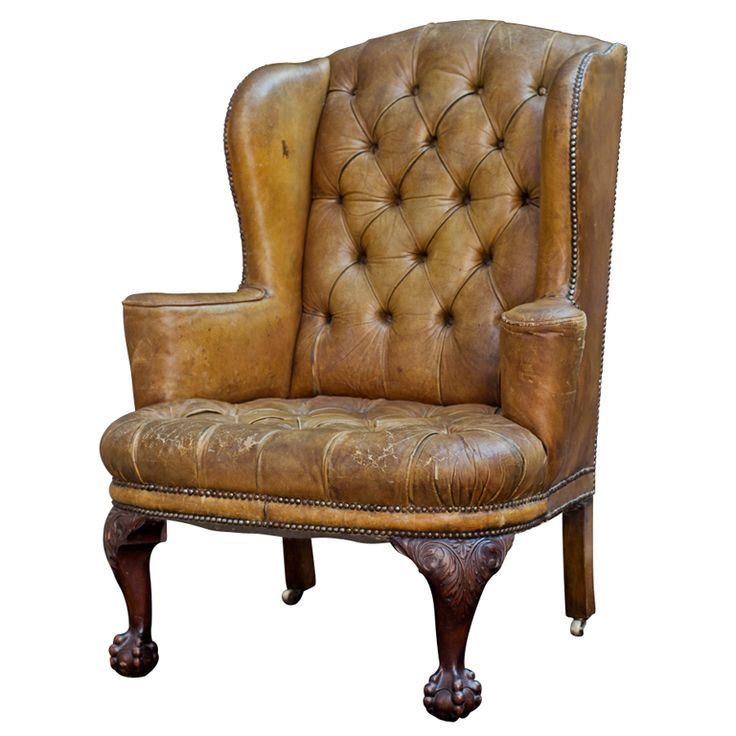 Perfect Tufted English Leather Wingback Chair