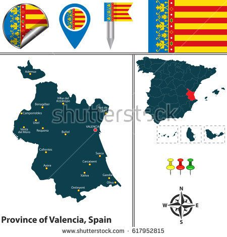 Vector map of province of Valencia with flags and icons
