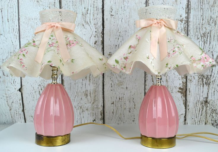 Vintage Pink Ceramic Bedroom Lamps Pair with Plastic Clip On Ruffled Lamp Shades, Matching Table Lamps, Floral Lamp Shade, Bedroom Lighting by AvidVintageShop on Etsy https://www.etsy.com/listing/548324064/vintage-pink-ceramic-bedroom-lamps-pair