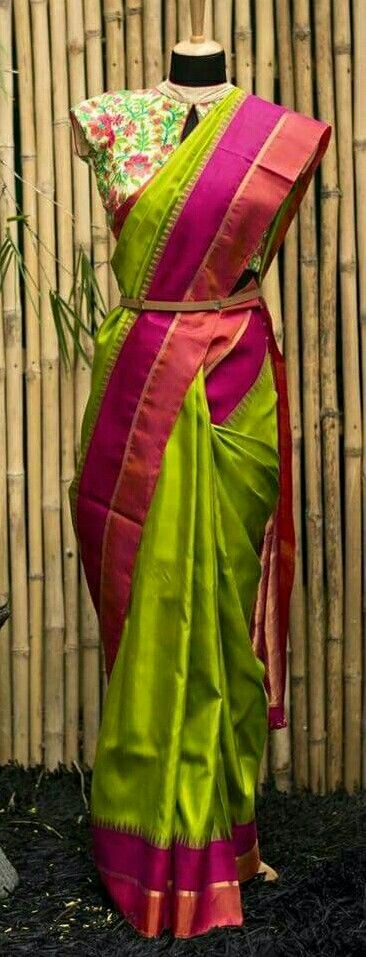 Pattu SAree in parrot green with pink boarder....