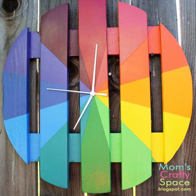Best DIY Rainbow Crafts Ideas - Colorful Outdoor Clock - Fun DIY Projects With Rainbows Make Cool Room and Wall Decor, Party and Gift Ideas, Clothes, Jewelry and Hair Accessories - Awesome Ideas and Step by Step Tutorials for Teens and Adults, Girls and Tweens http://diyprojectsforteens.com/diy-projects-with-rainbows