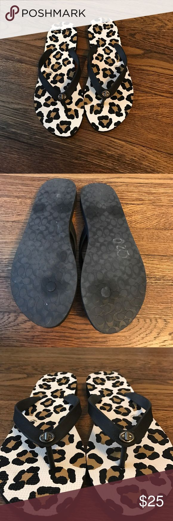 Coach animal print flip flops Coach animal print flip flops. NEW only wore once! Coach Shoes Sandals