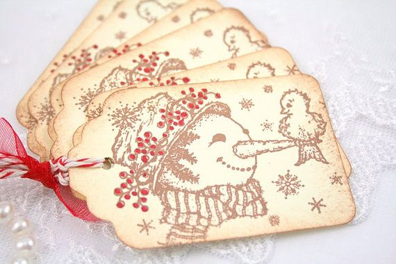 vintage snowmanTags Vintage, Snowman Tags, Snowman Gift, Birds Friends, Gift Tags, Christmas Tags, Tags Snowman, Favors Tags, Snowman Favors