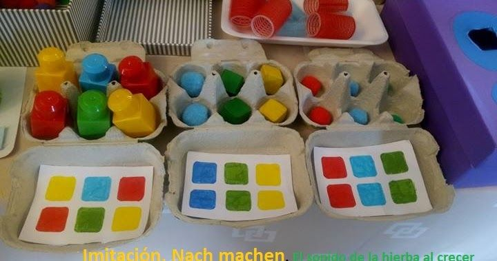 Autism Work Material: Egg Carton: assign by color