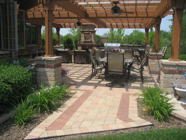 Patio And Pergola Patios Design With Brick Stone Border