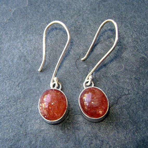 Sunstone gemstones set in Sterling Silver, on handmade hooks - perfect fall color!: Gemstone Sets, Fall Colors, Sunston Gemstone