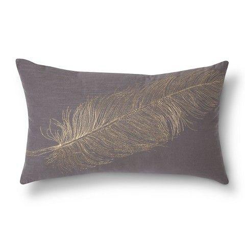 Threshold™ Lumbar Metallic Feather Gray Throw Pillow