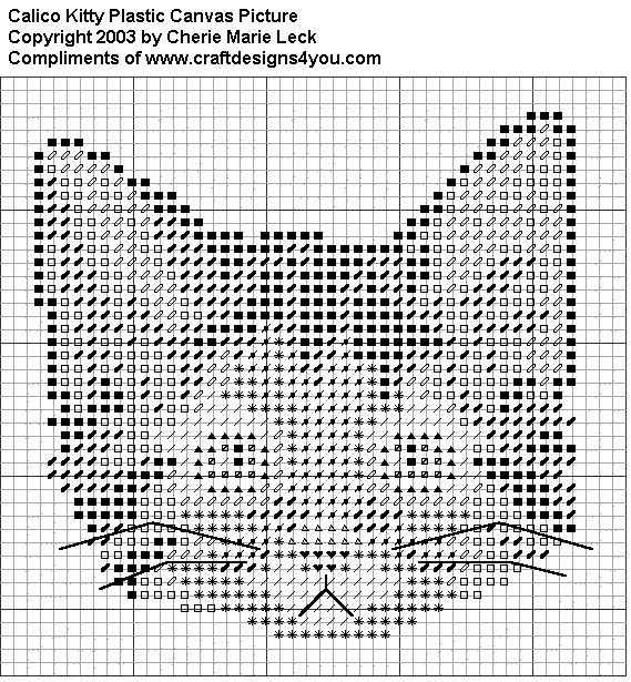 """* FREE Calico Kitty Graph - 47 holes by 45 holes with 7-count plastic canvas and 4-ply yarn -- 7"""" x 6.5"""""""