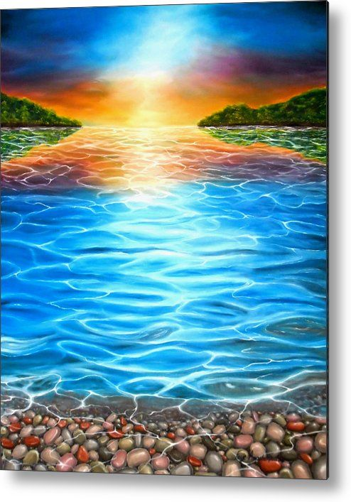 Metal Print,  colorful,coastal,scene,sunset,sunrise,seascape,pebbles,water,island,calm,shore,beach,stones,rocks,multicolor,blue,bright,sky,sunlight,impressive,beautiful,fantasylike,image,fine,oil,painting,contemporary,scenic,modern,virtual,deviant,wall,art,awesome,cool,artistic,artwork,for,sale,home,office,decor,decoration,decorative,items,ideas