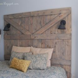 DIY barn door headboard. I want this for my room so badly.
