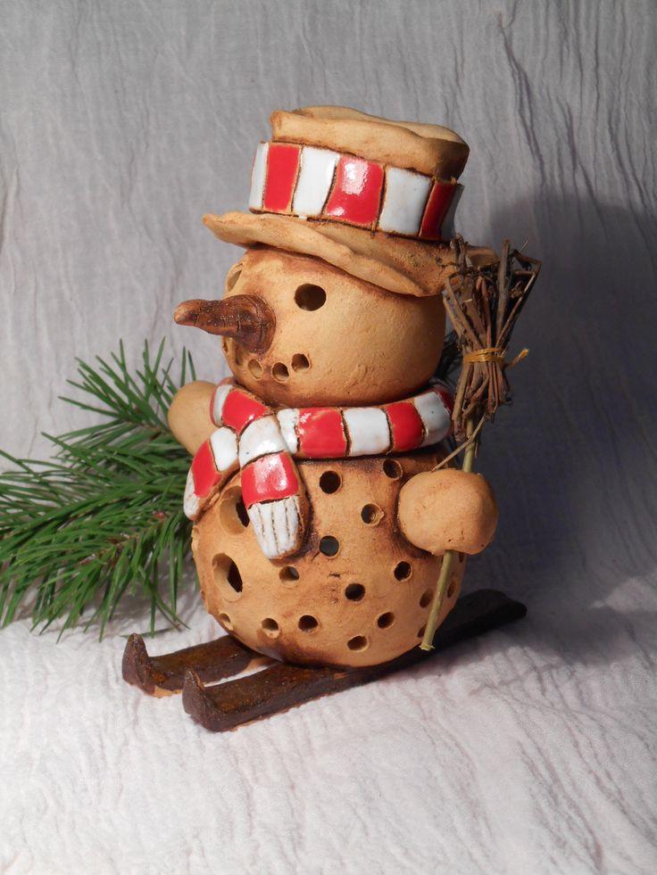 veselý sněhuláček - svíčka