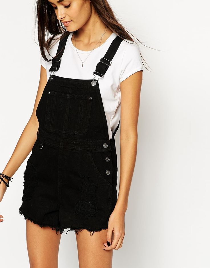 Image 3 of ASOS Denim Dungaree Short in Black with Raw Hem