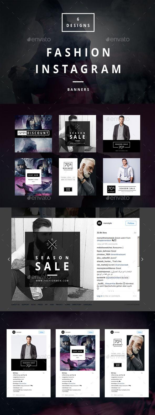 Fashion Instagram  6 Designs  — PSD Template #instagram • Download ➝ https://graphicriver.net/item/fashion-instagram-6-designs/18469484?ref=pxcr
