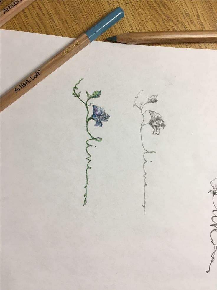"Watercolor for the flower, make the green smaller leaf into a small flower bud, wording for ""live"" in black that fades into the green watercolor stems."