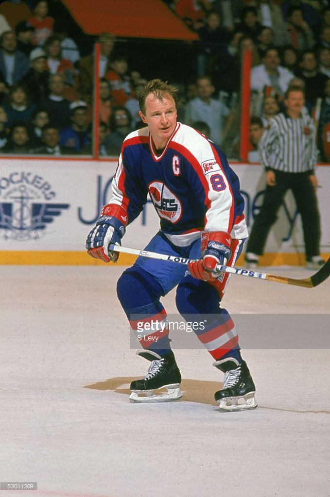 Canadian hockey player Randy Carlyle of the Winnipeg Jets on the ice during a game against the Philadelphia Flyers at the Spectrum, Philadelphia, Pennsylvania, early 1990s.