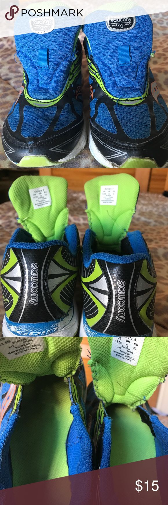 Saucony Kinvara 4 Boys Shoes Size 13.5m Saucony Boys shoes with no laces size 13.5, good used condition. Shows wear on bottom rails where blue has been scuffed off but still lots of life. Saucony Shoes Sneakers