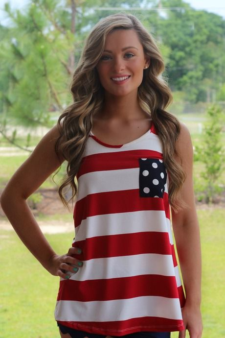 America Tank Top   Red White and Blue   Bow   Fourth of July   Lavish Boutique