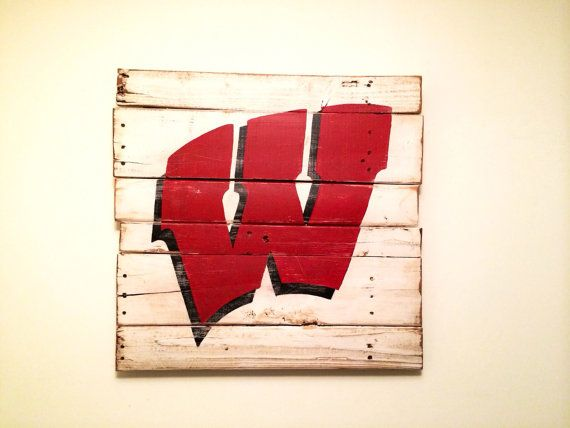 """University of Wisconsin """"Flying W"""" Wall Hanging on Etsy, $40.00"""