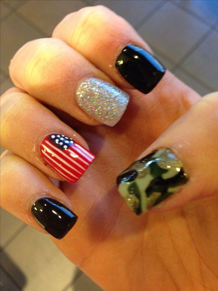 American flag, camo print nails!!!