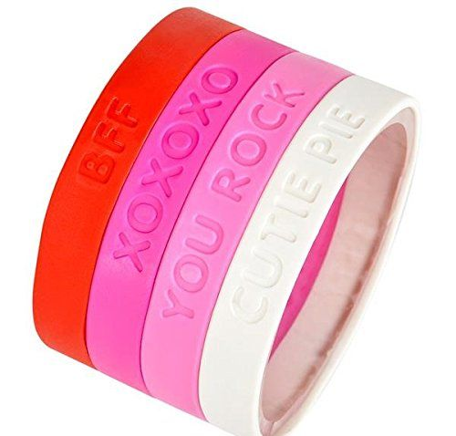 """12 8"""" Valentines Day Gifts for Kids and Adults, Bulk Toys, Party Favors Pink and Red Rubber Bracelets 1 Dozen"""