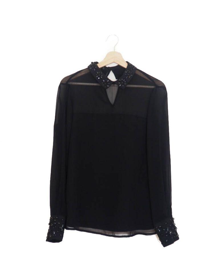 Blusa camisa, negro, transparente, cuello joya, Otoño Invierno, Blanco Blouse, shirt, black, see through, jewelery, Autumn Winter