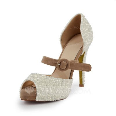 Suede Stiletto Heel Sandals Platform Peep Toe With Imitation Pearl shoes (087027433)
