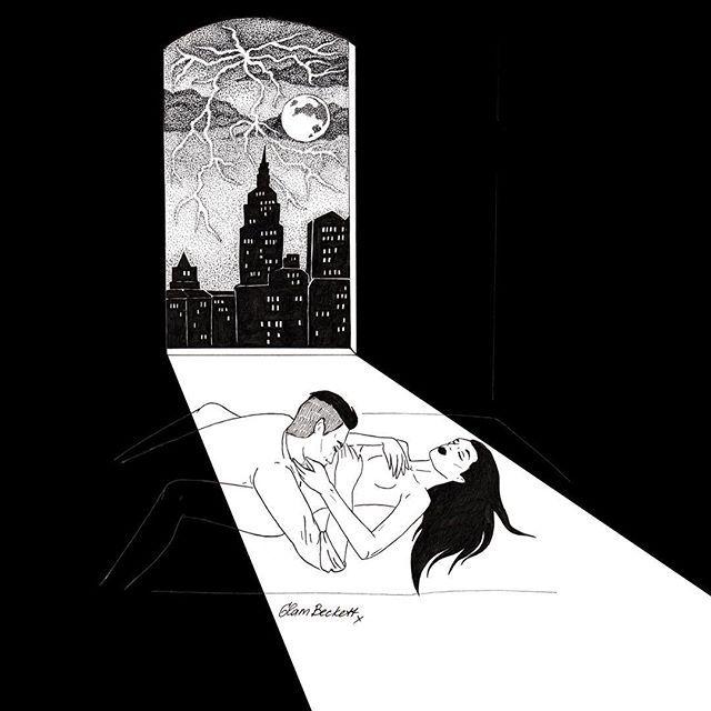 WEBSTA @ glambeckett - ⚡️#illustration #lineart #drawing #ink #blackink #blackandwhite #dotwork #blackwork #lowbrow #lowbrowart #sadgirl #femaleartist #noir #nude #moon #newyork #NYC #night #bed #midnight #window #windowview #rain #thunder #lightning #erotic #eroticart #aotearotica #picame #glambeckett