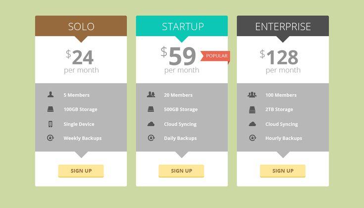 Pricing table concept - flat design   Web design   Pinterest