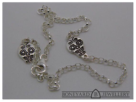 Sterling Silver Sugar Skull Bracelet by BoneyardJewellery on Etsy