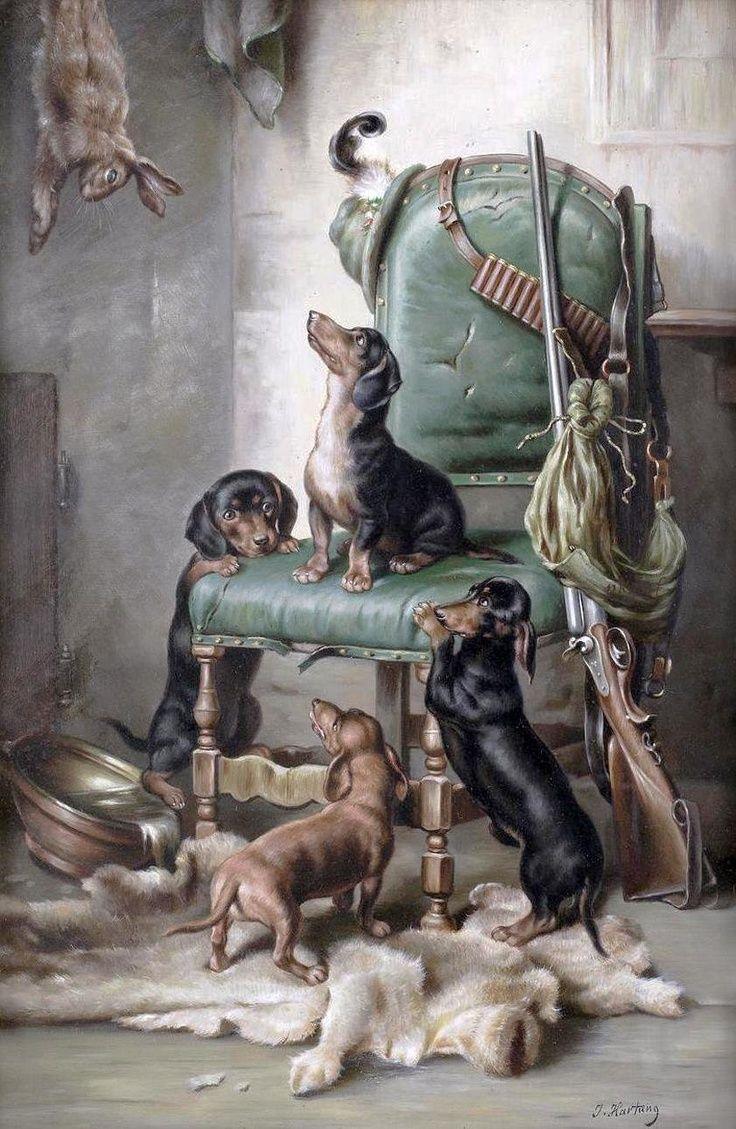 Carl Reichert Bird Hunting dogs antique,AFTER THE HUNT Art Print Rifle guns