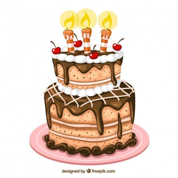 Bolo de aniversário ilustração Vetor grátis