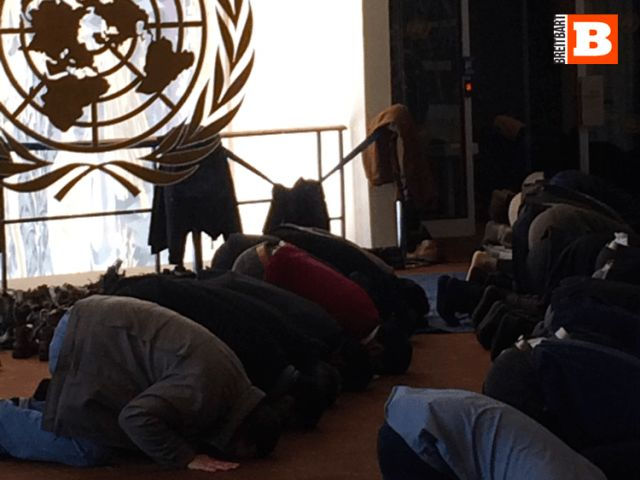 "PHOTOS: Muslim Prayers TAKE OVER UN General Assembly Area--The mask (or should we say mosque) is off. The UN is, by and large, an islamic world body funded by the American taxpayer.Organization of Islamic Cooperation — a religious and political organization comprised of 56 countries and the ""Palestinian"" Authority (considered a state). All 56 countries (plus the ""Palestinian"" terror statelet) vote as one, and their objective is to impose Islamic law (sharia) across the world."