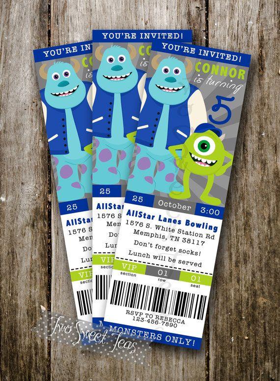 TICKET STYLE Monsters Inc University inspired Invitation Birthday Party Mike Wazowski Sully digital printable diy on Etsy, $13.00