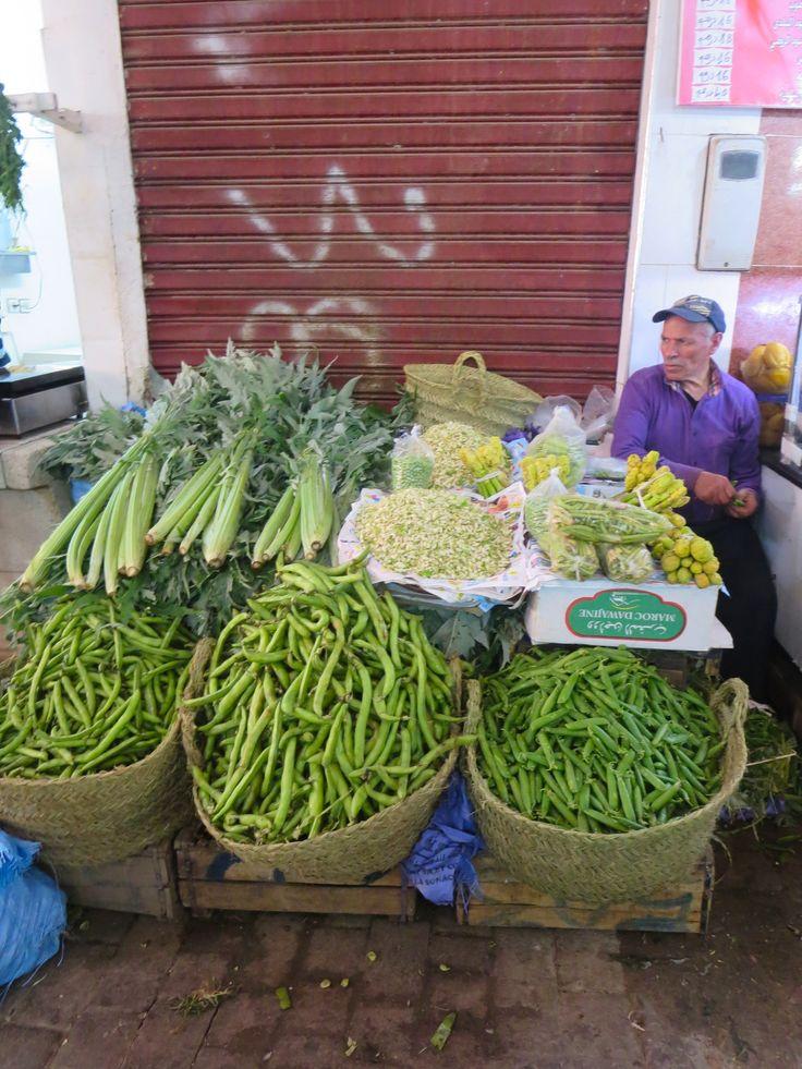 Vegetable seller, souk in Fez, Morocco