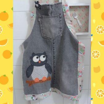 Avental de calça jeans - Artesanato na Rede