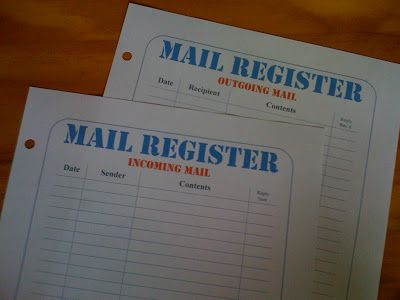 Mail Register Printable Forms | Paperbased.net