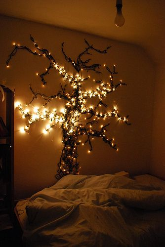 Create a tree from string lights! Use 3M command strips to adhere lights where you want them!!!