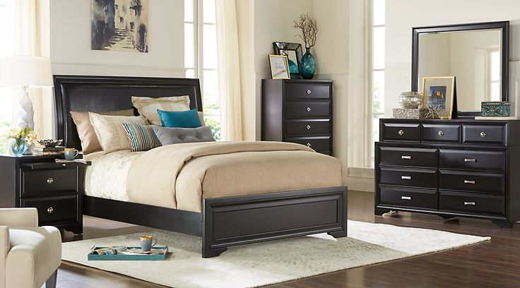Belcourt Black 5 Pc Queen Upholstered Bedroom