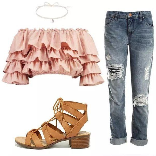 Choker: Harvey Nichols Ruffle top: boohoo Jeans: Sans Souci Shoes: Forever21 Styled by MH Style Consulting