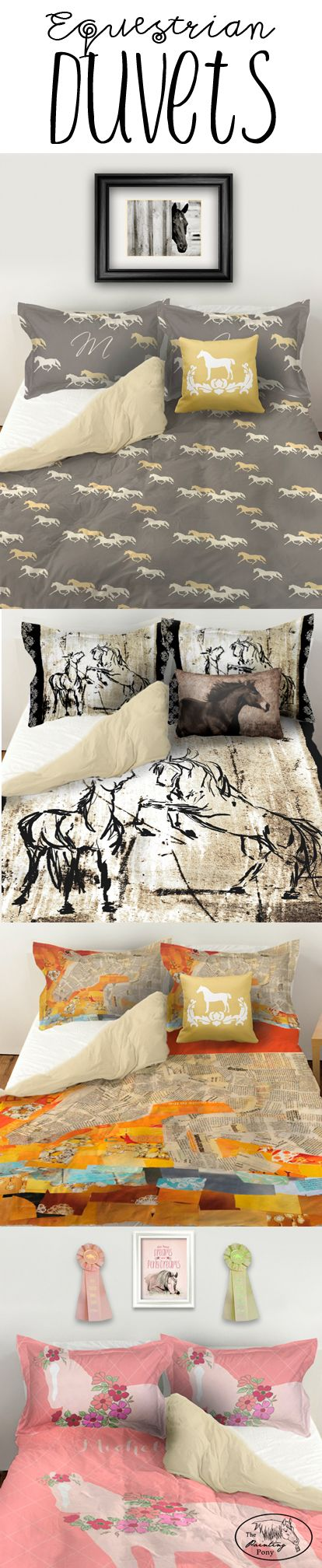 Duvet Bedding sets for the equestrian horse lover's bedroom decor. Available in twin, queen, or kind size bed covers with matching horse pillow shams. Cute and whimsical to stylish, classy and chic equestrian home decor. Great for anyone who loves horses and ponies from little girls to the more mature.