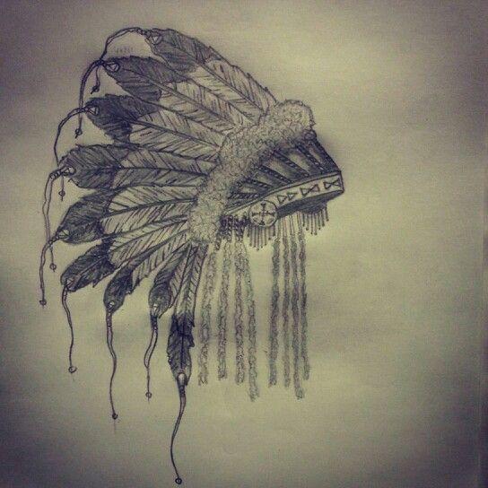 American Indian Head Dress Tattoo Sketch By Ranz