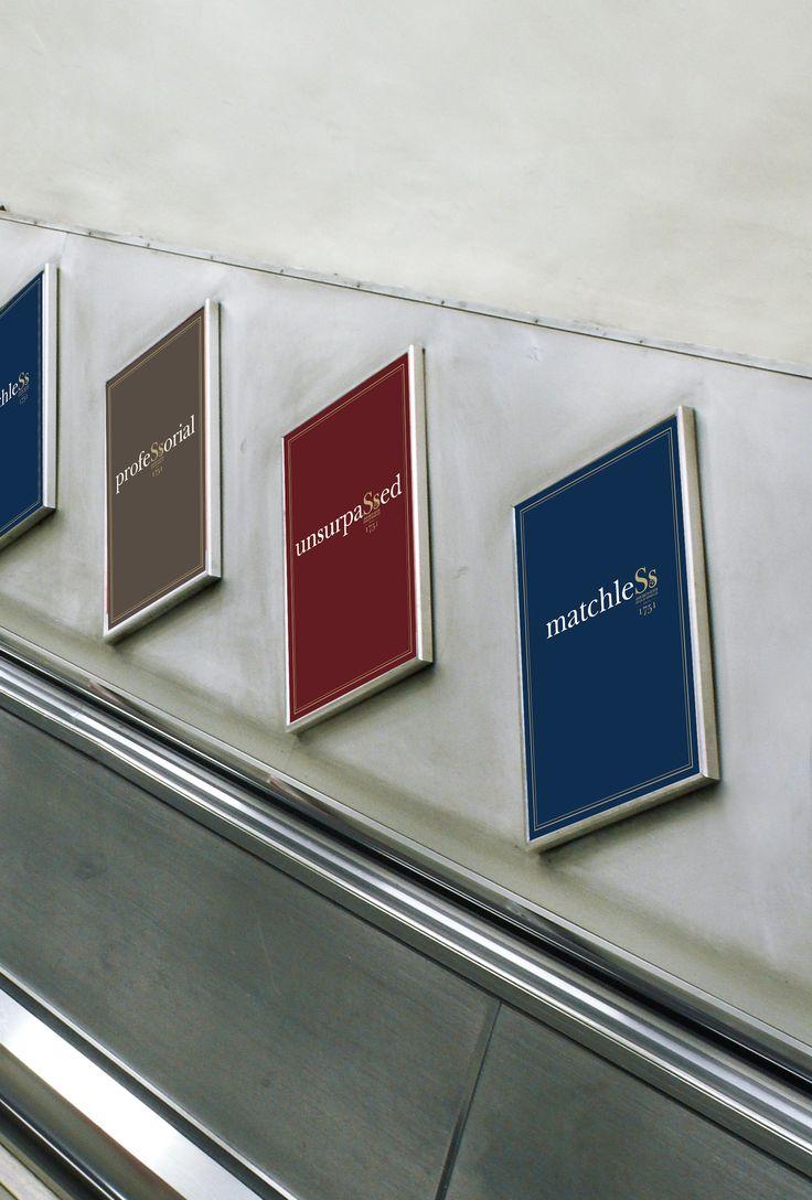John Smith & Son. Brand Identity. Advertising. Posters. London Underground escalators.