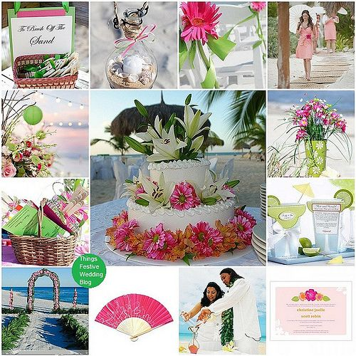 Beach wedding theme in pink and green