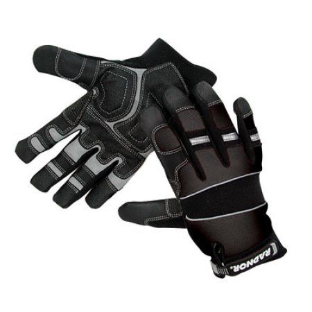 Radnor X-Large Black Premium Full Finger Sueded Leather And Spandex Mechanics Gloves With Hook and Loop Cuff, Spandex Back, Neoprene Knuckle And Wrist Pad, Suede Palm