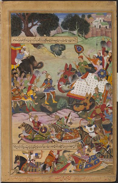 Akbar (1556–1605 CE Mughal Emperor) Receiving the Drums and Standards Captured from Abdullah Khan Uzbek (Mughal Governor of Malwa, India) Who Had Rebelled Against Him (Akbarnama -Mahesh & Anant) (V&A)