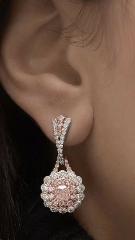 fb23d603d Classic pink white round 925 sterling silver & cz handmade anniversary gift  long earrings #Beautiful #DropDangle #Collection