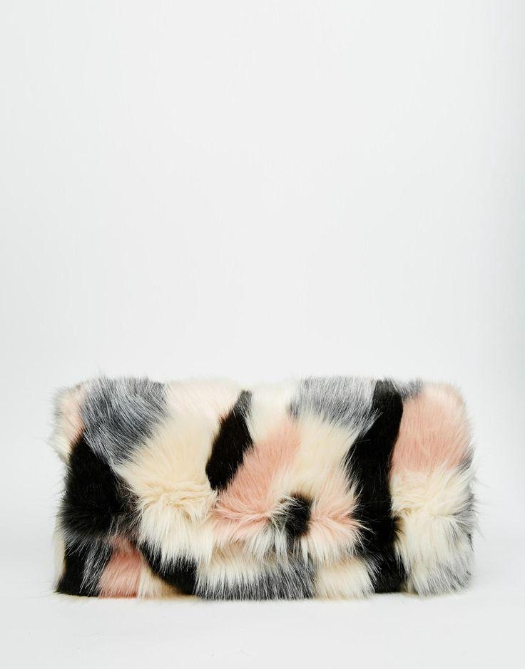 Image 1 ofASOS Co-ord Faux Fur Blocked Clutch Bag