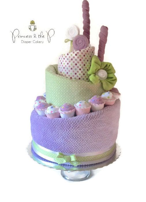 BABY SHOWER~Sweet Treats, Topsy Turvy, Diaper Cake, Baby Shower, Baby Gift, Baby shower Centerpiece, washcloth lollipop, baby cupcake, washcloth flower...