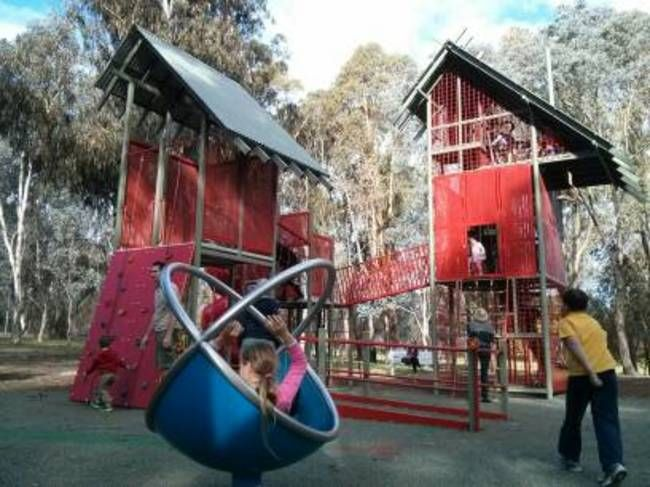 John Knight Memorial Park in Belconnen is one of Canberra's best playgrounds for children. It has equipment for big kids and little kids, a flying fox and a pond and creek for floating boats.
